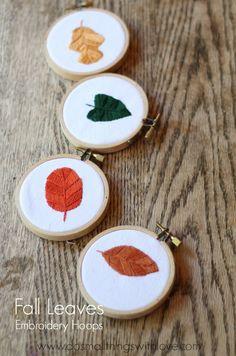 Fall Leaves Embroidery Hoop Art