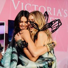 Kendall and Gigi Hadid backstage at the Victoria Secret Fashion Show 2015