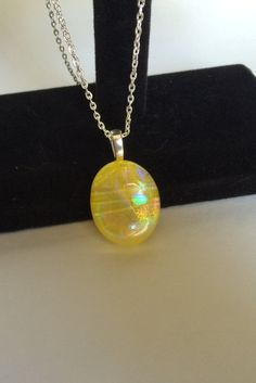 Yellow Dichroic glass pendant by starlingstudiosix on Etsy