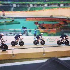 Team GB pursuit practice Sir Wiggo far left. Rio2016