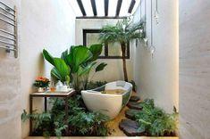 badezimmer einrichten grüne zimmerpflanzen badmöbel
