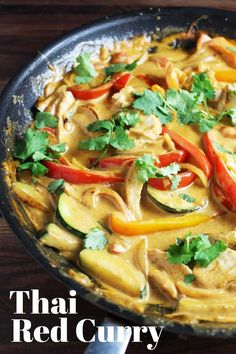This Thai red curry recipe is easy to make, and even easier to love! Chicken and veggies are quickly sauteed and then cooked in a creamy coconut milk and red curry sauce. Served over rice, it's a healthy stir fry that is filling, comforting and delicious. Indian Food Recipes, Asian Recipes, Healthy Recipes, Thai Curry Recipes, Thai Kitchen Red Curry Paste Recipe, Thai Food Recipes, Recipe For Red Curry, Coconut Red Curry Recipe, Red Thai Curry Sauce Recipe