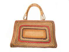 4b88c19ba358 SALE  VTG Stylish Large Colored Straw woven Tote Handbag Beach bag- with Bamboo  handles