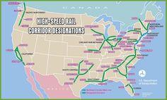 USA high speed rail map