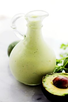Light and Creamy Avocado-Lime Salad Dressing | www.diethood.com | Tangy,smooth, lightened up Avocado Salad Dressing with lime juice and creamy yogurt.