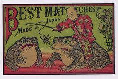 Boy catching Frogs•early 20th c Japanese Match Label•Vintage Art POSTCARD