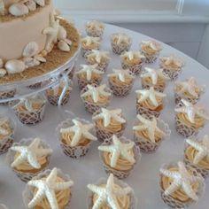 Beach themed wedding cupcake