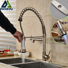 Brushed Nickel Kitchen Sink Single Handle Kitchen Mixer Tap with LED Light Deck Mount One Hole