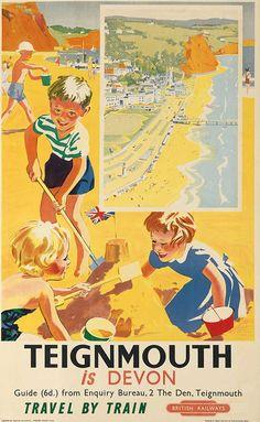 Teignmouth Devon Vintage seaside posters