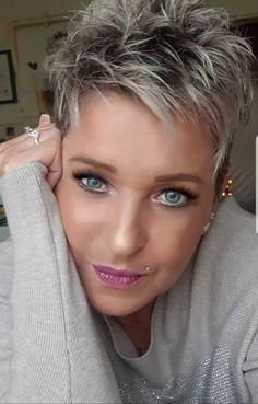 Short Choppy Hair, Funky Short Hair, Short Grey Hair, Short Hair Cuts For Women, Short Hair Styles, Bob Haircut For Fine Hair, Cute Hairstyles For Short Hair, Transition To Gray Hair, Great Hair