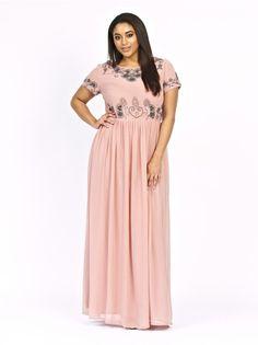 c755c016a38cc Floral Embellished Maxi Dress - Plus Size - Luxury Dress Plus Size Maxi  Dresses