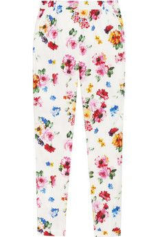 Dolce & Gabbana Floral-print stretch cotton-poplin pants | NET-A-PORTER
