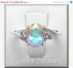 3 DAY SALE Mystic Topaz Ring, Mystic Fire Topaz Ring (Mercury Mist Topaz 2ct Accented Bypass SS Ring Sz 4-16) Rainbow Topaz, Northern Lights