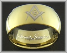18kt Yellow Gold Plated Tungsten Freemason Ring with Masonic Square & Compass. sunsetjewelers.com
