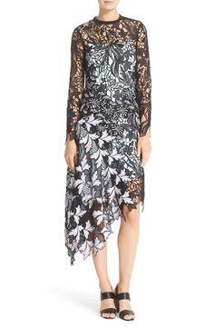 Main Image - Self-Portrait 'Vine' Asymmetrical Lace Midi Dress