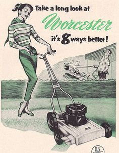 Wegele Lawn Mower Postcard Happy Housework Pinterest
