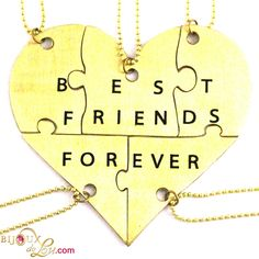 Brass Best Friends Forever 5-Piece Necklace Set: Made of lasercut brass with a golden color, the heart is 3 inches at the widest point when assembled. It breaks into 5 puzzle piece pendants, each with its own matching 24 inch long brass necklace chain. Limited quantities available. Also sold in a stainless steel version.