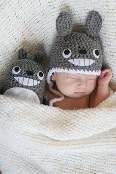 Newborn Crochet Totoro Gift Set (Newborn Totoro Hat and a Doll). $40.00, via Etsy.