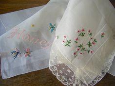 Vintage Embroidered Handkerchiefs Unused Ladies Hankies Honey and Bees Wedding Handkerchiefs Dainty Lacy Handkerchiefs Bridal Shower Gift by cynthiasattic on Etsy