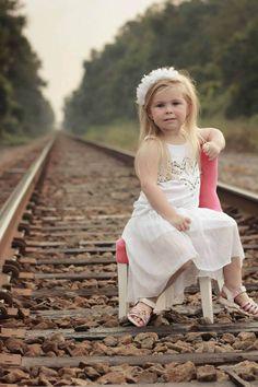 Toddler photography like use of train tracks