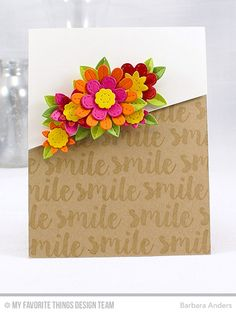 Handmade card from Barbara Anders featuring the Sensational Stitched Flowers Card Kit #mftstamps