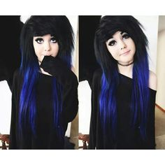 Cool emo hair ❤ liked on Polyvore featuring accessories, hair accessories, hair and blue hair accessories