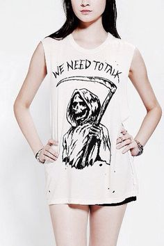 UNIF We Need To Talk Muscle Tee - Urban Outfitters I find this shirt extremely humorous Glam Rock, Visual Kei, Urban Outfitters, Grunge, Cool Outfits, Fashion Outfits, Pop Punk Fashion, Fashion Ideas, Youre My Person