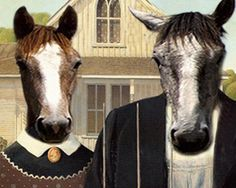 American Gothic Painting, American Gothic House, American Gothic Parody, Famous Art Pieces, Fancy Shop, Grant Wood, Vintage Horse, Horse Print, Horse Photos