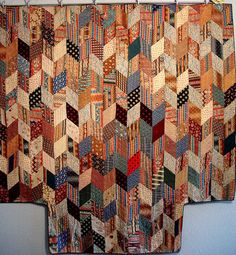 Antique 1850 hit and miss patchwork, stitched & quilted by hand, on ebay