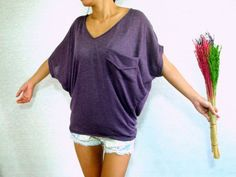 Dolman Sleeve Top / Dolman / Purple Women Blouse - Oversized Top / V Neck Tee / Ladies T shirt - Casual Chic Wide Sleeve Women's Top