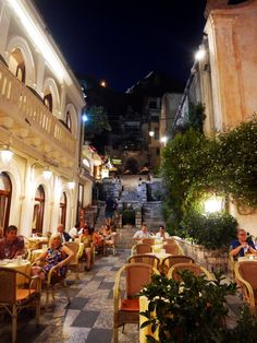 The beautiful streets of Taormina, Sicily, Italy,