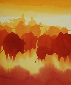 The Herd - Original Acrylic Painting of Maasai & Cattle by Alison Nicholls | An Artist In Africa