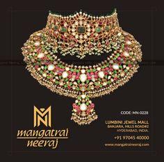Latest Kundan Chokers from Mangatrai Indian Wedding Jewelry, Indian Jewelry, Bridal Jewelry, Indian Bridal, Pearl And Diamond Necklace, Long Pearl Necklaces, Gold Necklace, Choker Necklaces, Necklace Set