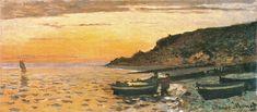Claude Monet Boat in Sunsert   Seacoast at Saint-Adresse, Sunset