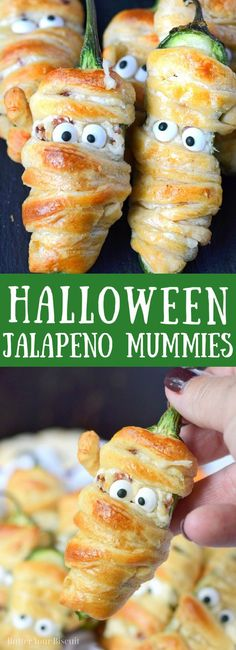 Bacon Jalapeno Mummies are the perfect Halloween party appetizer! Your guests will go crazy for them! Easy Appetizer Recipes, Healthy Appetizers, Healthy Recipes, Halloween Activities For Kids, Halloween Kids, Halloween Crafts, Halloween Party Appetizers, Stuffed Jalapenos With Bacon, Candied Bacon