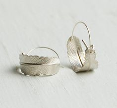 Silver FEATHER Hoop EARRINGS Woodland Nature by redtruckdesigns, $33.95