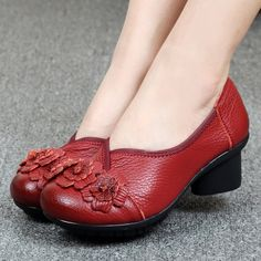 b3310add21404 Socofy Leather Mid Heel Vintage Handmade Flower Original Soft Shoes Shoes  Heels