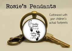 Great gifts for Dad! YOUR CHILDREN'S Actual Footprints, Names and Birth Dates on a key ring by RosiesPendants