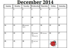 Printable Blank PDF December 2014 Calendar Plan your upcoming holiday celebrations with this Printable Blank PDF December 2014 Calendar. Printout this 2014 Calendar Printable, Calendar Notes, December 2014 Calendar, December Daily, Teacher Organization, Planner Organization, Hanukkah, Printables, Templates