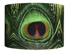Handmade Lampshade Peacock Feather Printed Fabric Large Statement