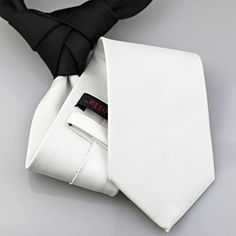 Coachella Ties Solid Color Knot Contrast Tie Two Tone Patchwork Necktie 8.5cm (Black/White)