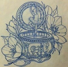 This would be great but use the music box from Anastasia - Tattoos - Girly Tattoos, Time Tattoos, Music Tattoos, Unique Tattoos, Leg Tattoos, Beautiful Tattoos, Body Art Tattoos, Tatto Ink, 1 Tattoo
