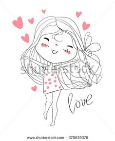 Find Three hand drawn beautiful cute girls on the background with the inscription I love my best friends. Stock Images in HD and millions of other royalty-free stock photos, illustrations, and vectors in the Shutterstock collection. Art And Illustration, Love Drawings, Easy Drawings, Doodle Art, Art Mignon, Romantic Girl, Cartoon Wallpaper, Cute Cartoon, Cute Art