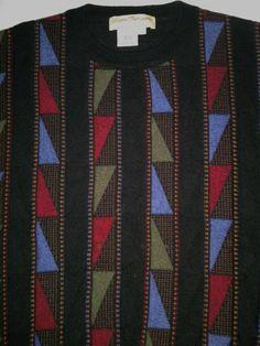 NORM THOMPSON Black Multi Wool blend Sweater vintage Italian coogi cosby Men XXL