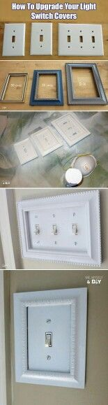 Update your light switches by simply adding a frame. You can even bedazzle the frame for a more unique look.  G;)