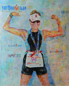 Ironman Triathlon Gift. Custom painting makes great by ViviansART #triathlon #gift #Art
