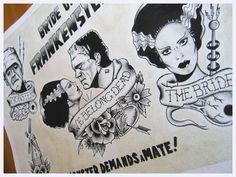 Frankenstein's Bride, bwanadevilart: Bride of Frankenstein tattoo...