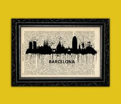Barcelona Spain BCN World Cities Skylines Art Print - Building Europe Silhouettes Book Art Poster Dorm Room gift Wall Dictionary Print