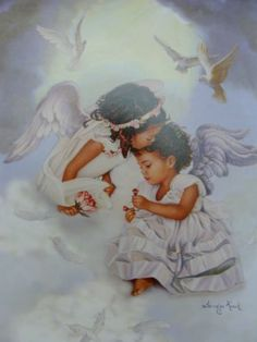 Sandra Kuck Sharing Love African American Angelic Girls Matted Lithograph Print | eBay
