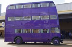 Harry Potter Purple Triple Decker Bus - the Knight Bus. Made up from three separate old London buses - RT 2240, RT 3882 and RT 4497.